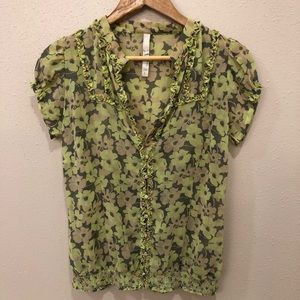 Fossil Floral Short Sleeve, Poet Style Blouse